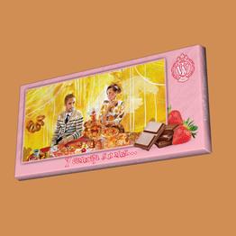 """Шоколад молочный 32% со вкусом клубники """"У самовара я и моя"""" 100 г от World & Time"""