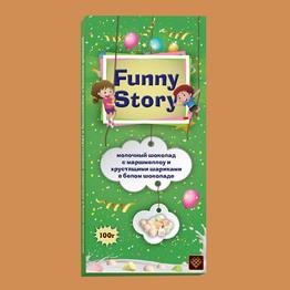 Funny Story Молочный шоколад с маршмеллоу и хруст шариками в белом шоколаде