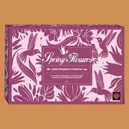 Конфеты Spring Flowers из темн. шоколада с марципановой начинкой и миндалем