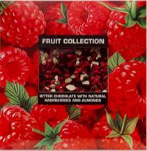 """Шоколад горький с натуральной малиной и миндалем """"Fruit collection""""80г"""